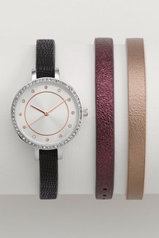 Interchangeable Strap Watch Set
