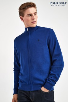 Ralph Lauren Polo Golf Blue Lined Zip Through Knit Top
