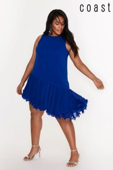 Coast Curve Blue Peyton Wire Pleat Hem Dress