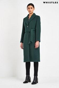 Whistles Dark Green Alex Belted Coat
