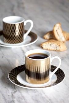 Set of 2 Carrington Espresso Cups and 2 Saucer