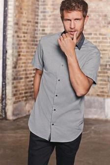 Contrast Collar Textured Shirt