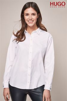 HUGO White Relaxed Fit Shirt With Ribbon Collar Detail