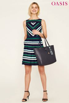 Oasis Black Napoli Stripe Skater Dress