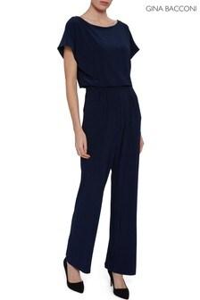 Gina Bacconi Blue Parker Jersey Jumpsuit