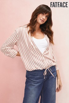 FatFace Natural Jodie Stripe Tie Front Top