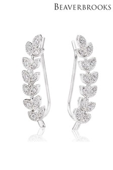 Beaverbrooks Silver Cubic Zirconia Leaf Climber Earrings