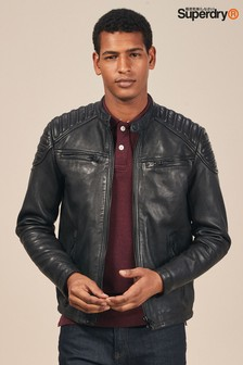 Superdry Black Hero Leather Racer Jacket