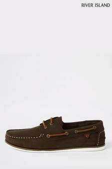 River Island Dark Brown Perforated Leather Boat Shoe