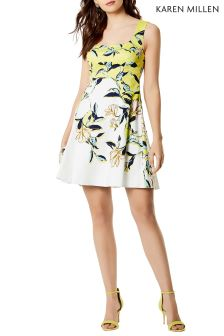 Karen Millen Green Magnolia Floral Print On Cotton Dress