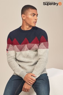 Superdry Navy Vigo Fairisle Pattern Jumper