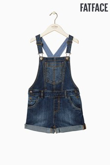 FatFace Blue Embroidered Dungaree Short