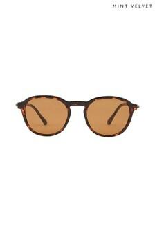 Mint Velvet Brown Venice Flat Lens Sunglasses