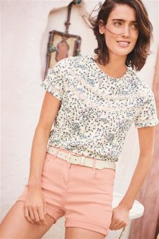 Ditsy Lace Trim Tee