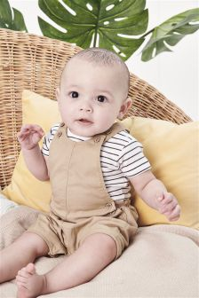 Dungarees And Stripe Bodysuit Set (0mths-2yrs)