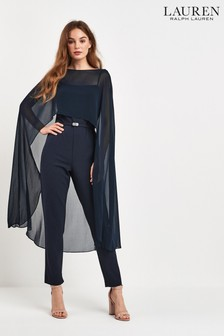 Lauren Ralph Lauren Navy Caped Jumpsuit