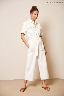 Mint Velvet Ivory Denim Short Sleeve Boilersuit