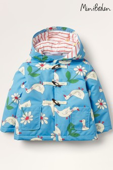 Boden Blue Showerproof Printed Duffle Coat