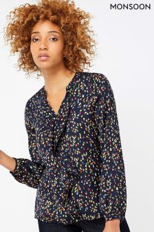 Monsoon Blue Shakira Print Frill Blouse
