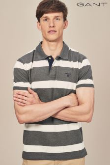 GANT Charcoal Melagne Contrast Collar Stripe Rugger Polo