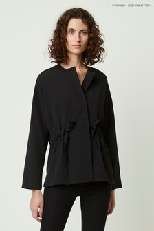 French Connection Black Crepe Light Gathered Waist Blouse