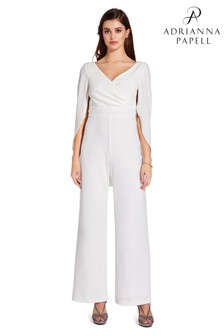 Adrianna Papell White Long Sleeved Jumpsuit