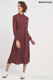 Whistles Burgundy Margot Spot Shirt Dress