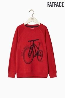 FatFace Red Bike Graphic Crew Sweat