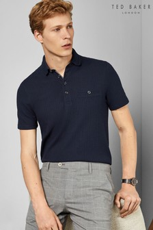 Ted Baker Navy Textured Poloshirt