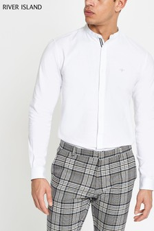 River Island White Oxford Grandad Shirt