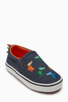 Dino Embroidered Slip-Ons (Younger)