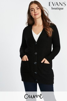 Evans Black Horn Button Cardi