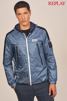 Replay® Navy Lightweight Soft Touch Hooded Jacket