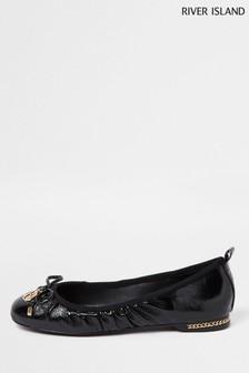 River Island Black Bow Ballerina Shoes