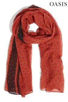 Oasis Red Ginger Spot Crinkle Scarf
