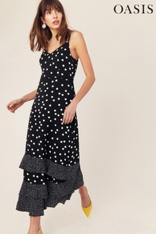 Oasis Black/White Spot Tiered Maxi Dress
