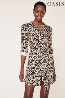 Oasis Animal Shirt Dress
