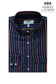 Hawes & Curtis Blue Multi Stripe Relaxed Fit Shirt