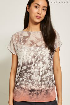 Mint Velvet Orange Meadow Print Wrap Back Tee