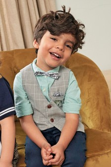 Embroidered Check Waistcoat, Shirt And Tie Set (3mths-7yrs)