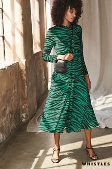 Whistles Green Carys Tiger Print Shirt Dress