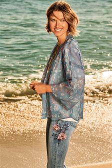 Print Metallic Kimono