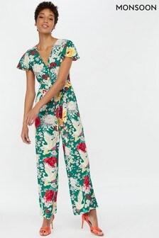 Monsoon Ladies Green Amber Print Long Jumpsuit