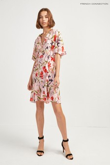 2ae445bd30 French Connection Pink Cadencia Crepe Short V-Neck Dress
