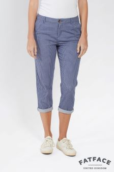 FatFace Chambray Stripe Lulworth Crop Chino Trouser
