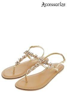 Accessorize Gold Irun Jewelled Sandal