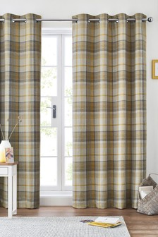 Dalton Check Eyelet Curtains