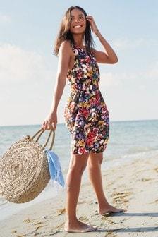 Короткое платье с цветочным рисунком