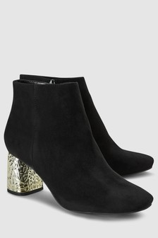 Feature Metal Heel Ankle Boots