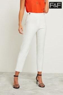 F&F White Slim Leg Cotton Viscose Trouser